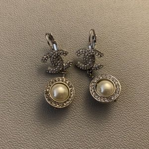 Authentic Chanel Earrings Pearl Crystal Dangle